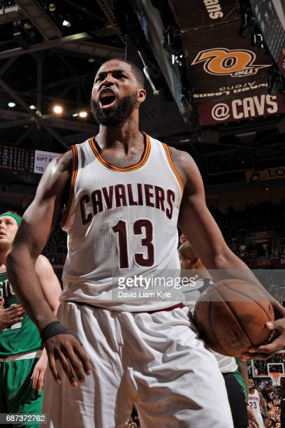 Tristan Thompson of the Cleveland Cavaliers yells and celebrates in Game Three of the Eastern Conference Finals against the Boston Celtics during the...