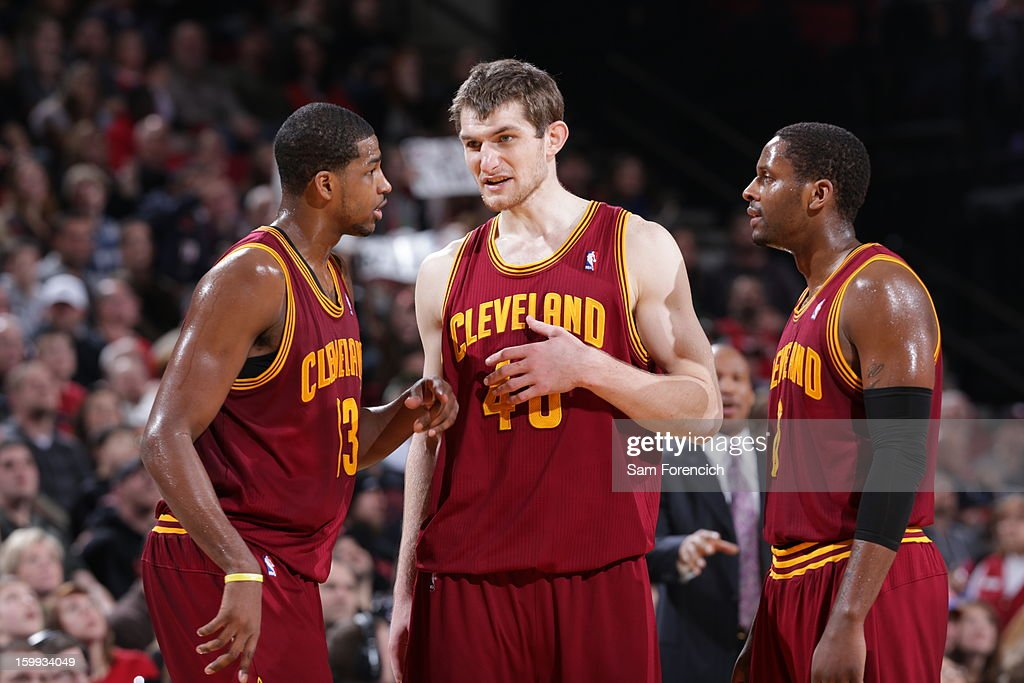 Tristan Thompson #13, Tyler Zeller #40 and Jeremy Pargo #8 of the Cleveland Cavaliers discuss a play against the Portland Trail Blazers on January 16, 2013 at the Rose Garden Arena in Portland, Oregon.