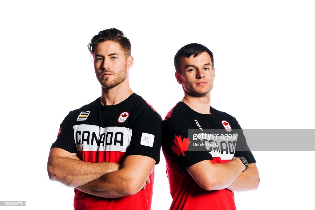 Tristan Walker (L) and Justin Snith pose for a portrait during the Canadian Olympic Committee Portrait Shoot on June 4, 2017 in Calgary, Alberta, Canada.