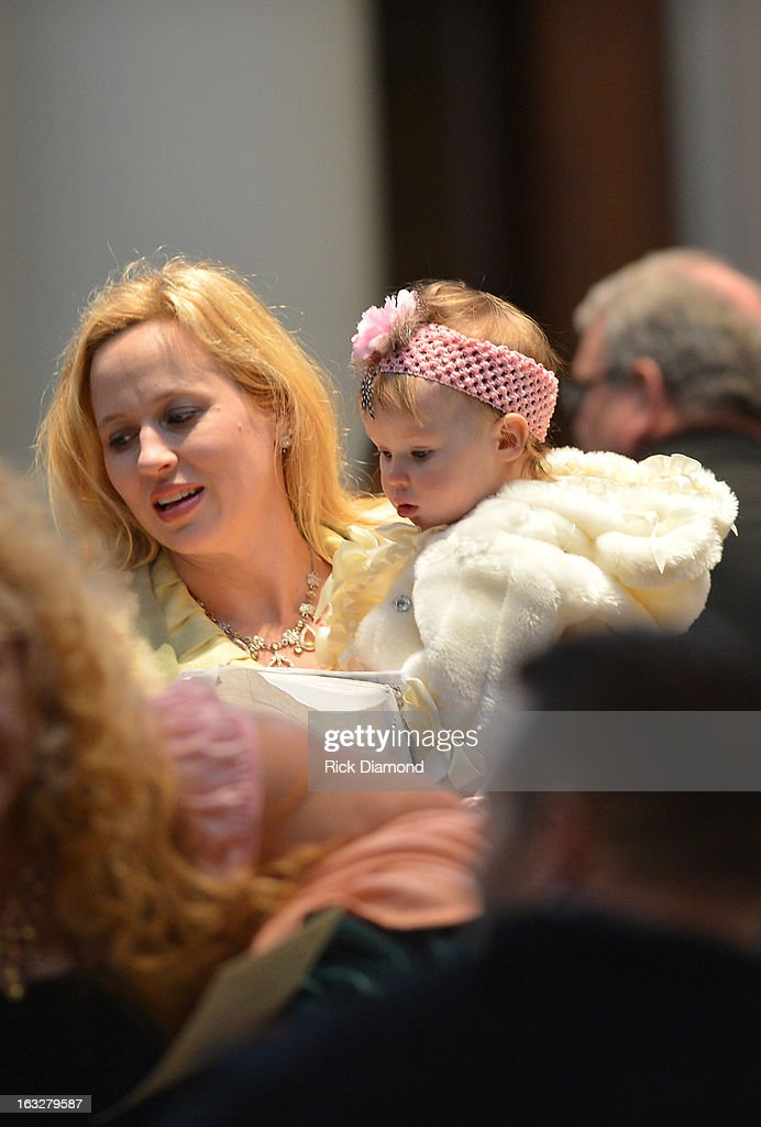 Tristan White, Mindy McCready's cousin attends the memorial service for Mindy McCready at Cathedral of the Incarnation on March 6, 2013 in Nashville, Tennessee. McCready was found dead from an apparent suicide on February 17, 2013 at her home in Heber Springs, Arkansas.