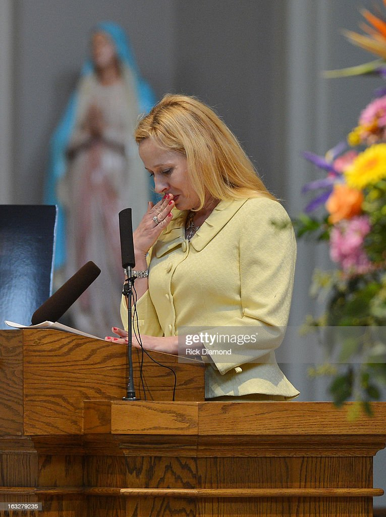 Tristan White, Mindy McCready's cousin speaks during the memorial service for Mindy McCready at Cathedral of the Incarnation on March 6, 2013 in Nashville, Tennessee. McCready was found dead from an apparent suicide on February 17, 2013 at her home in Heber Springs, Arkansas.