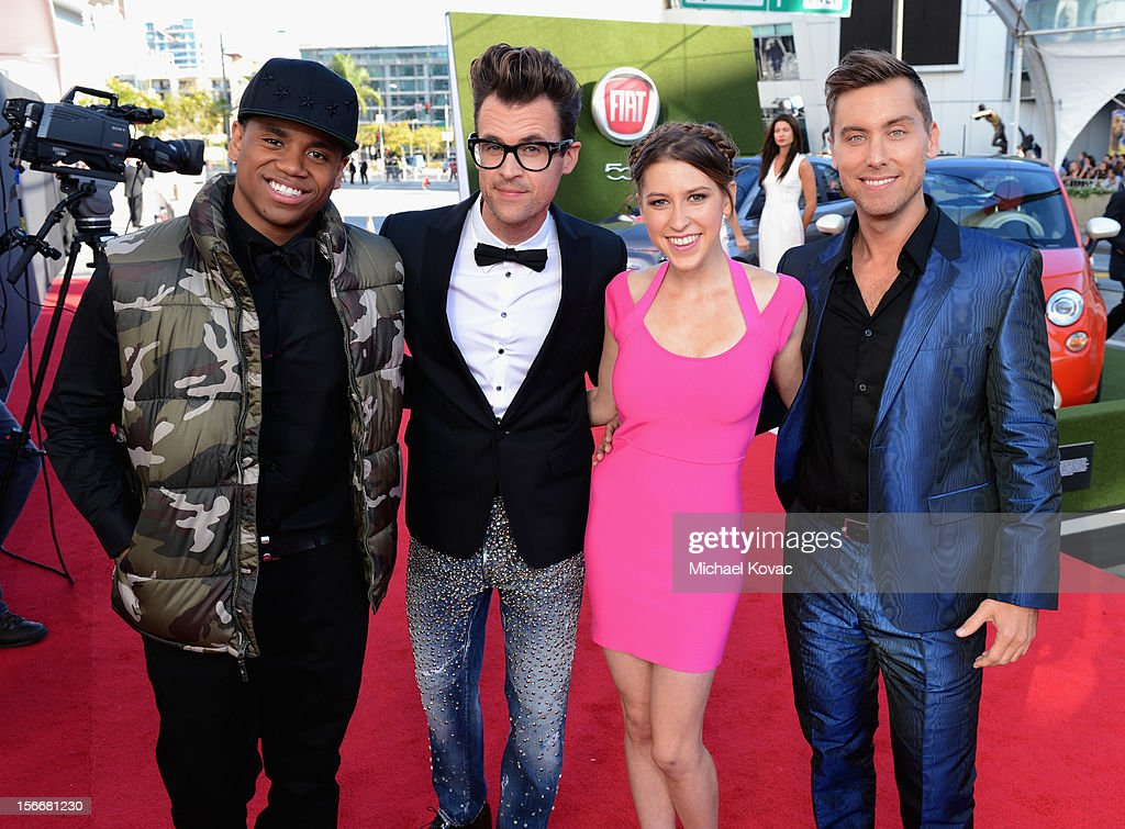 Tristan Wilds, Brad Goreski, Eden Sher and Lance Bass attend Fiat's Into The Green during the 40th American Music Awards held at Nokia Theatre L.A. Live on November 18, 2012 in Los Angeles, California.