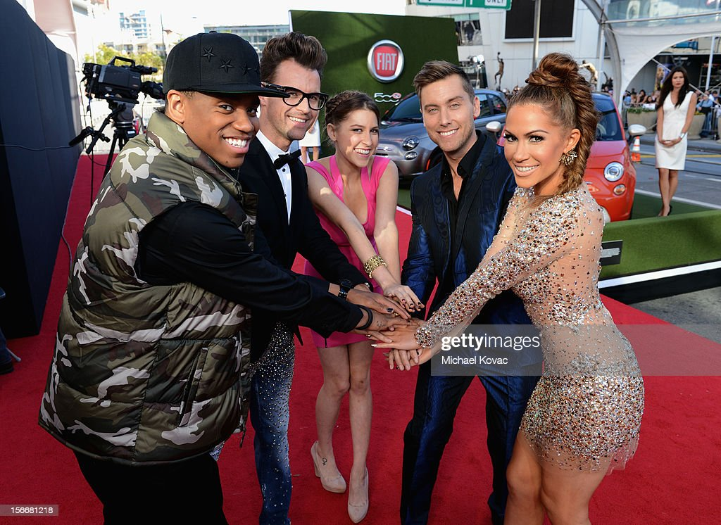 Tristan Wilds, Brad Goreski, Eden Sher, Lance Bass and Kimberly Cole at Fiat's Into The Green during the 40th American Music Awards held at Nokia Theatre L.A. Live on November 18, 2012 in Los Angeles, California.