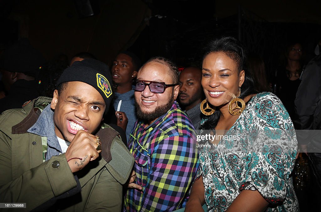 Tristan Wilds, Buttah Man, and Beverly Bond attend the after party for 'An Evening Celebrating Nas,' presented by Hennessy VS at Hyde Lounge on February 8, 2013, in West Hollywood, California.