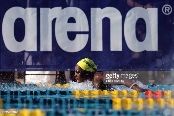 Tristen Ulett competes in the finals of the women's 200 meter butterfly on day three of the Arena Pro Swim Series Mesa at Skyline Aquatic Center on...