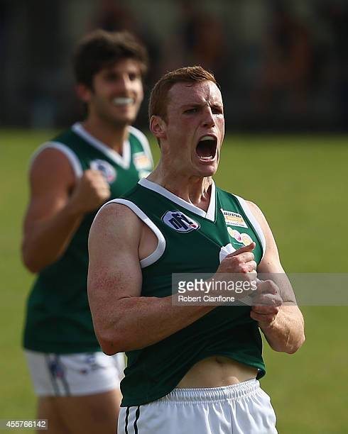 Tristian Stead of Greensborough celebrates a goal during the Northern Football League Grand Final match between Heidelberg and Greensborough at...
