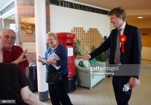 Tristram Hunt parliamentary candidate for the Labour party chats to pensioners at Berryhill Retirement Village as he canvasses in Stoke On Trent on...