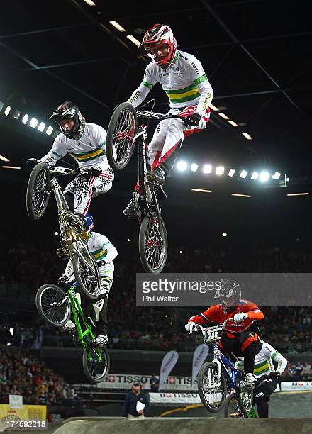Tristyn Kronk of Australia clears a jump in the Junior Mens during day five of the UCI BMX World Championships at Vector Arena on July 28 2013 in...