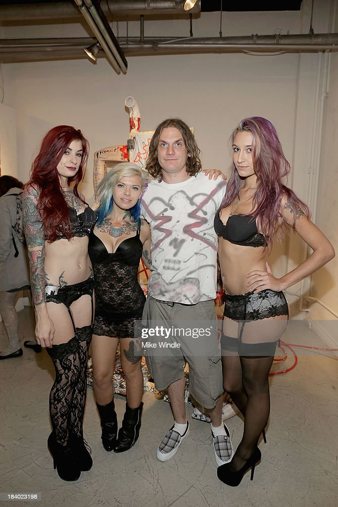 Tristyn Suicide, Ackley Suicide, Eddie Rehm and Moon Suicide attend 'Rehming Out LA' by N.Y artist Eddie Rehm and Gloria Delson Contemporary Arts on October 10, 2013 in Los Angeles, California.