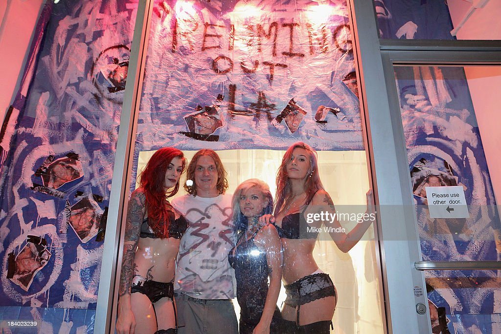 Tristyn Suicide, Eddie Rehm, Ackley Suicide and Moon Suicide attend 'Rehming Out LA' by N.Y artist Eddie Rehm and Gloria Delson Contemporary Arts on October 10, 2013 in Los Angeles, California.