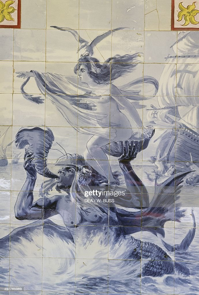 Triton, Dione and the Portuguese fleet, azulejos panel by Jorge Colaco (1868-1942), Palace Hotel do Bucaco (former Discalced Carmelite convent of Santa Cruz), Sierra de Bucaco, Portugal.