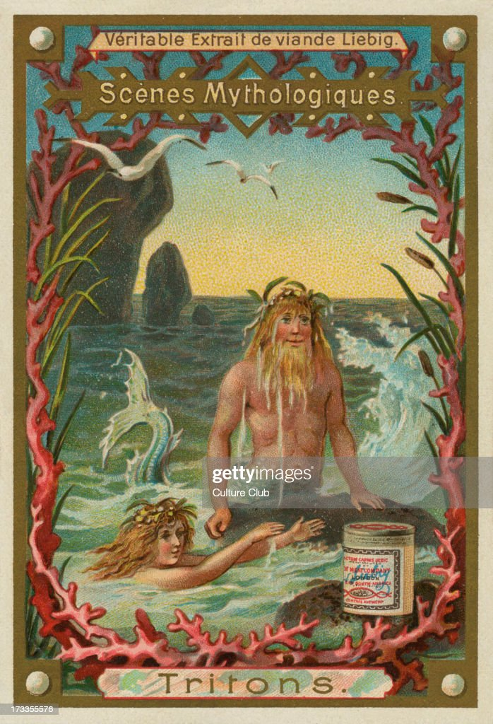 Triton mythological Greek god and the messenger of the sea Liebig card Mythological Scenes 1896