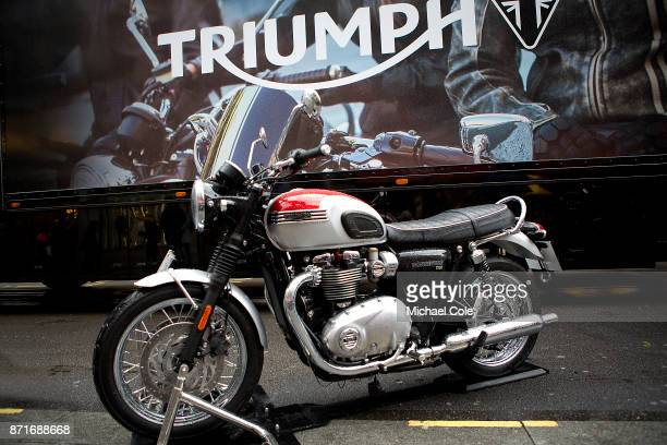 Triumph Bonneville T120 motorcycle at The Regent Street Motor Show in London on November 4 2017 in London England