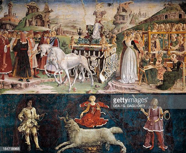 Triumph of Minerva and Sign of Aries scenes from Month of March ca 1470 by Francesco del Cossa fresco east wall Hall of the Months Palazzo Schifanoia...