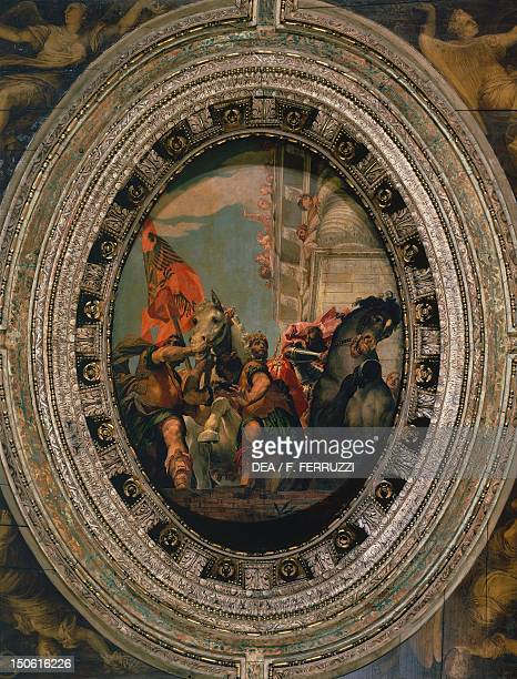 Triumph of Mordecai detail from the Stories of Esther and Mordecai 15551556 by Paolo Caliari known as Veronese fresco Ceiling of the central nave in...