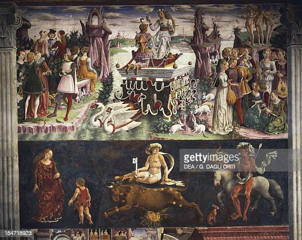 Triumph of Venus and Sign of Taurus scenes from Month of April ca 1470 by Francesco del Cossa fresco east wall Hall of the Months Palazzo Schifanoia...