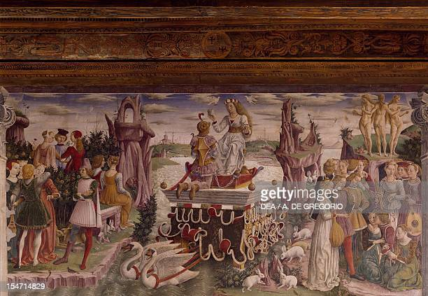 Triumph of Venus Month of April ca 1470 by Francesco del Cossa fresco east wall Hall of the Months Palazzo Schifanoia Ferrara EmiliaRomagna Italy...