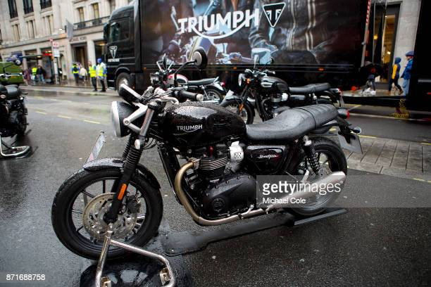 Triumph Street Twin motorcycle at The Regent Street Motor Show in London on November 4 2017 in London England