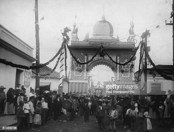 A triumphal arch in Guatemala City marks the opening of the Guatemala Northern Railway connecting the Atlantic and Pacific Oceans 19th January 1908...