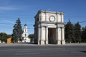 Summer view at Triumphal arch in Kishinev (Chisinau) Moldova