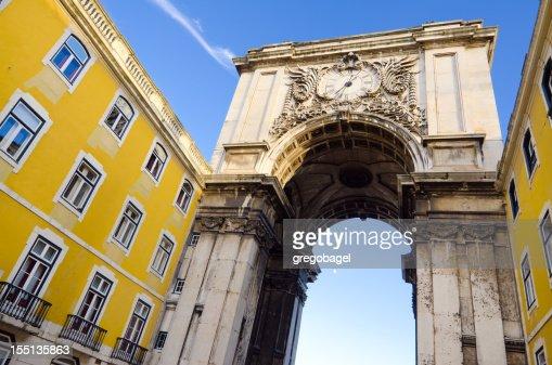 Triumphal Arch leading to Praca do Comercio in Lisbon, Portugal
