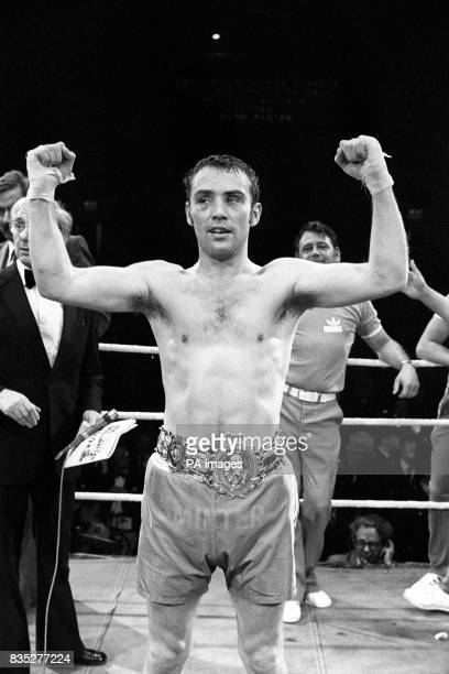 Triumphant Alan Minter wearing the Lonsdale belt after regaining the British middleweight championship