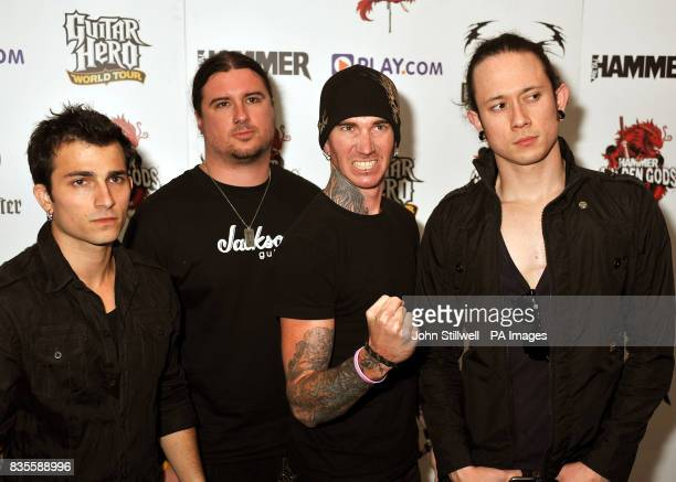 Trivium arrive at the Indigo concert venue for the Metal Hammer Golden Gods awards at the O2 Arena in Greenwich south East London