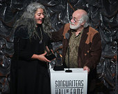 Trixie Garcia and Robert Hunter speak during the Songwriters Hall Of Fame 46th Annual Induction And Awards at Marriott Marquis Hotel on June 18 2015...