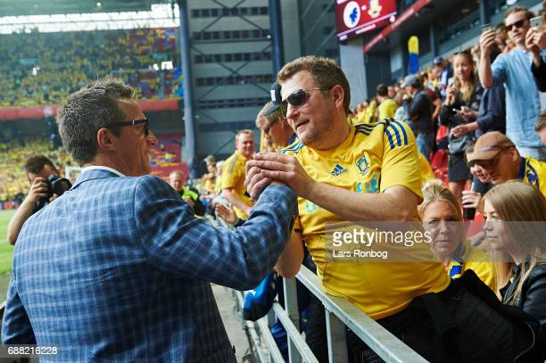 Troels Bech sports director shake hands with a fan prior to the Danish Cup Final DBU Pokalen match between FC Copenhagen and Brondby IF at Telia...
