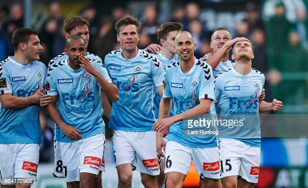 Troels Klove of Sonderjyske celebrates after scoring their first goal during the Danish Alka Superliga match between Sonderjyske and FC Copenhagen at...