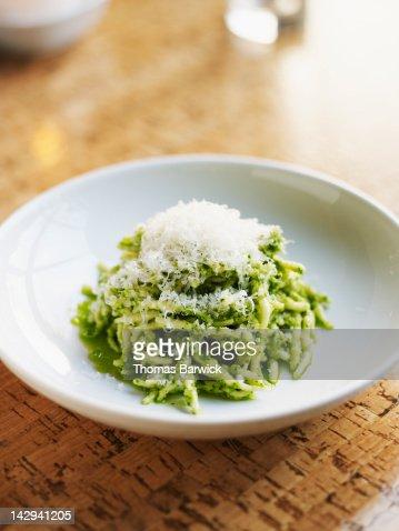 Trofie pasta with parsley walnut pesto : Stock Photo