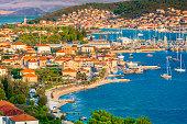 Aerial view at town Trogir in Croatia, small tourist town in suburb of Split, Dalmatia region.