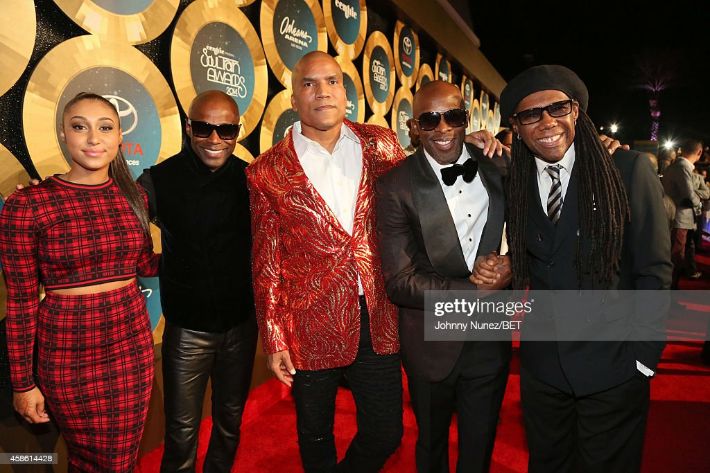Troi Owens Kem Paxton Baker Joe and Nile Rodgers attend 2014 Soul Train Music Awards Red Carpet on November 7 2014 in Las Vegas Nevada