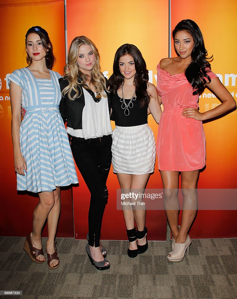 Troian Avery Bellisario, Ashley Benson, Lucy Hale and Shay Mitchell arrive to the Disney/ABC Television Group press junket held at the ABC Television Network Building on May 15, 2010 in Burbank, California.