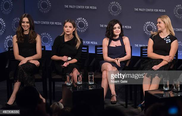 Troian Bellisario Ashley Benson Lucy Hale and Sasha Pieterse attend 'Pretty Little Liars' QA during the PaleyFest New York 2015 at The Paley Center...