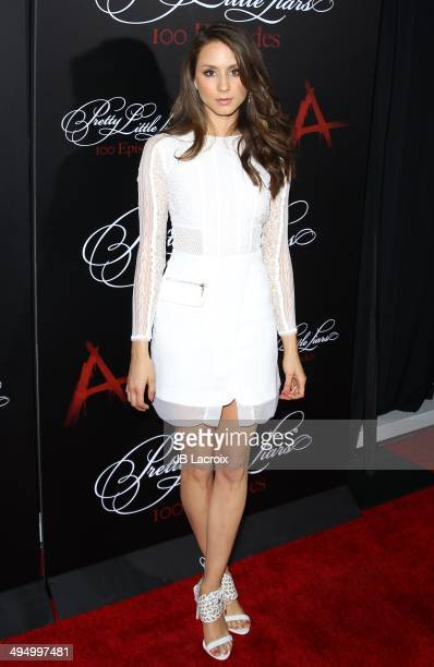 Troian Bellisario attends the 'Pretty Little Liars' Celebrates 100 Episodes held at the W Hollywood Hotel on May 31 2014 in Hollywood California