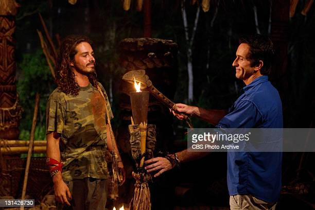 'Trojan Horse' – Ozzy Lusth of the Savaii Tribe has his torch snuffed out by Jeff Probst during tribal council during the seventh episode of SURVIVOR...