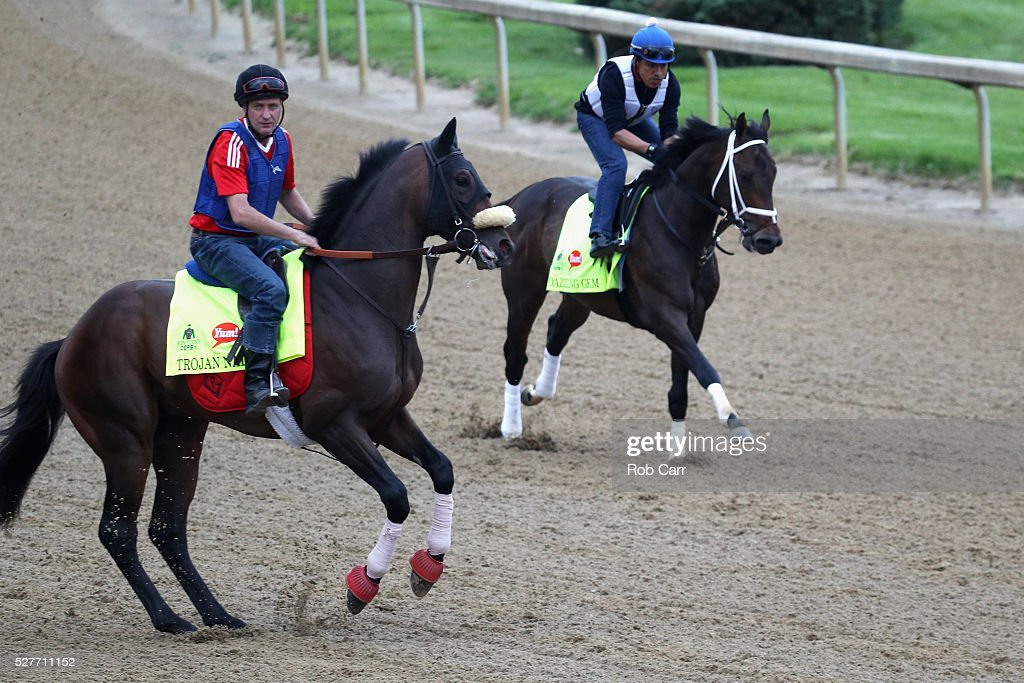 Trojan Nation and Dazzling Gem train on the track for the Kentucky Derby at Churchill Downs on May 03, 2016 in Louisville, Kentucky.