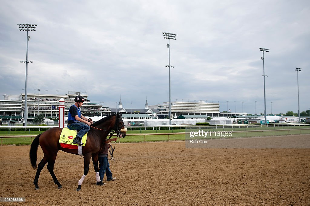 Trojan Nation is led onto the track for the Kentucky Derby at Churchill Downs on May 04, 2016 in Louisville, Kentucky.