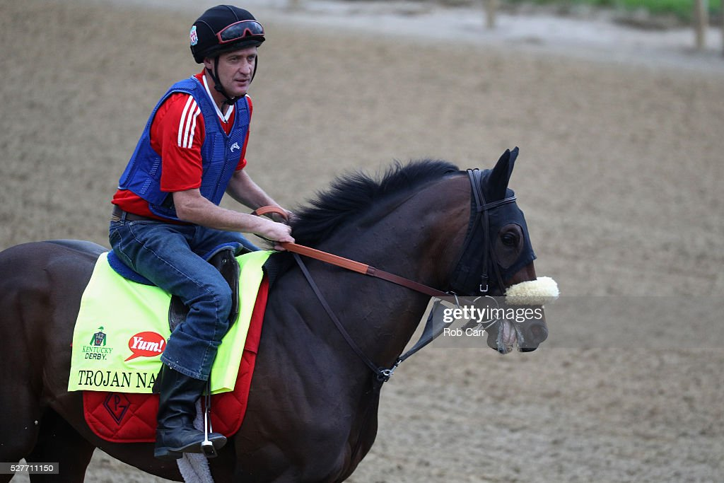 Trojan Nation trains on the track for the Kentucky Derby at Churchill Downs on May 03, 2016 in Louisville, Kentucky.