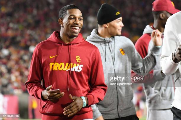 Trojans basketball player De'Anthony Melton looks on during a college football game between the Arizona Wildcats and the USC Trojans on November 4 at...