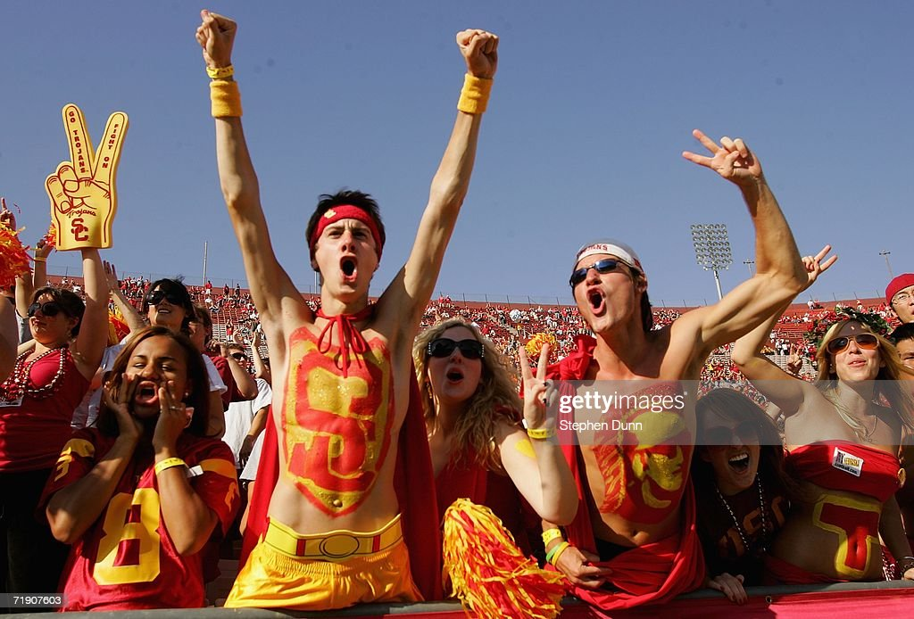 Trojans fans cheer before the game with the Nebraska Cornhuskers on September 16, 2006 at the Los Angeles Memorial Coliseum in Los Angeles, California.