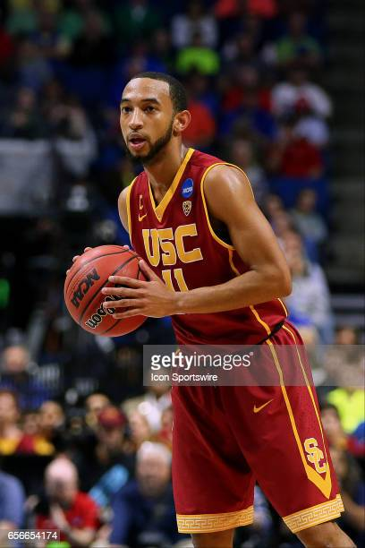 Trojans Forward Jordan McLaughlin set up the Trojan offense during the NCAA Division I Men's Basketball Championship first round game between the SMU...