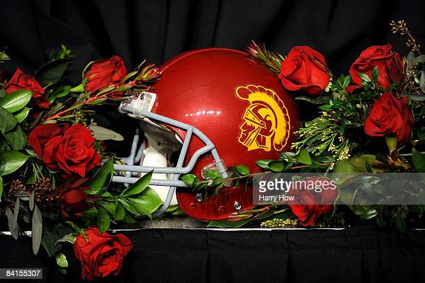 Trojans helmet sits on a table surrounded by roses after USC defeated the Penn State Nittany Lions at the 95th Rose Bowl Game presented by Citi on...