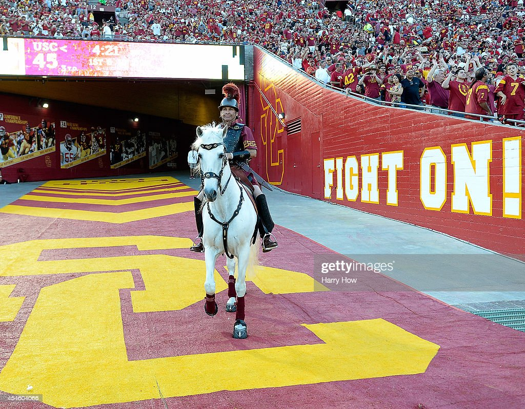Trojans mascot during the game between the Fresno State Bulldogs and the USC Trojans at Los Angeles Memorial Coliseum on August 30, 2014 in Los Angeles, California.