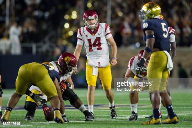 Trojans quarterback Sam Darnold calls out a play adjustment to his lineman during the college football game between the Notre Dame Fighting Irish and...