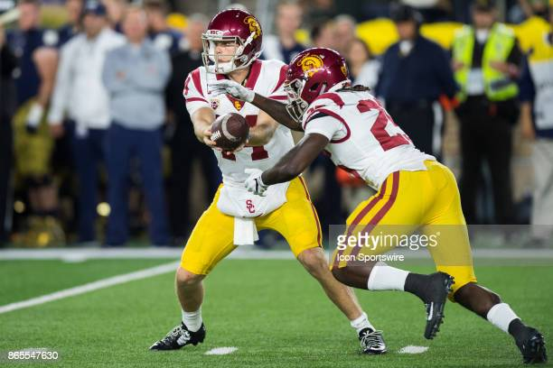 Trojans quarterback Sam Darnold hands off to USC Trojans running back Ronald Jones II during the college football game between the Notre Dame...