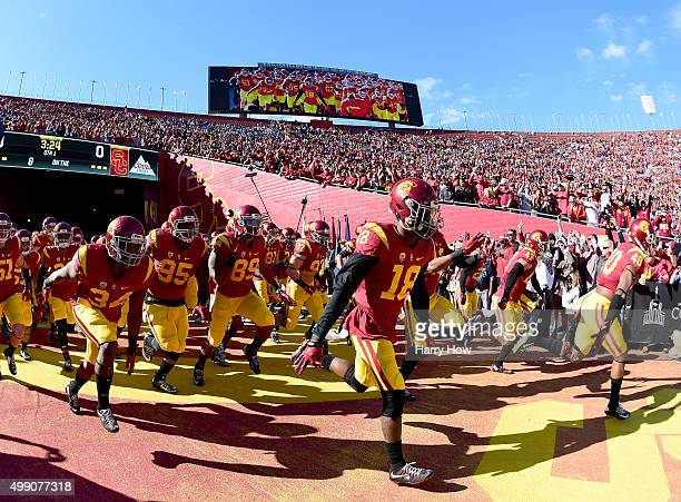 Trojans take to the field before the game against the UCLA Bruins at Los Angeles Memorial Coliseum on November 28 2015 in Los Angeles California