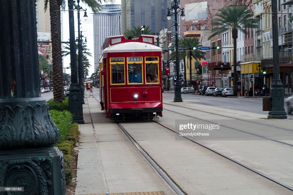 A trolley in the streets of New Orleans