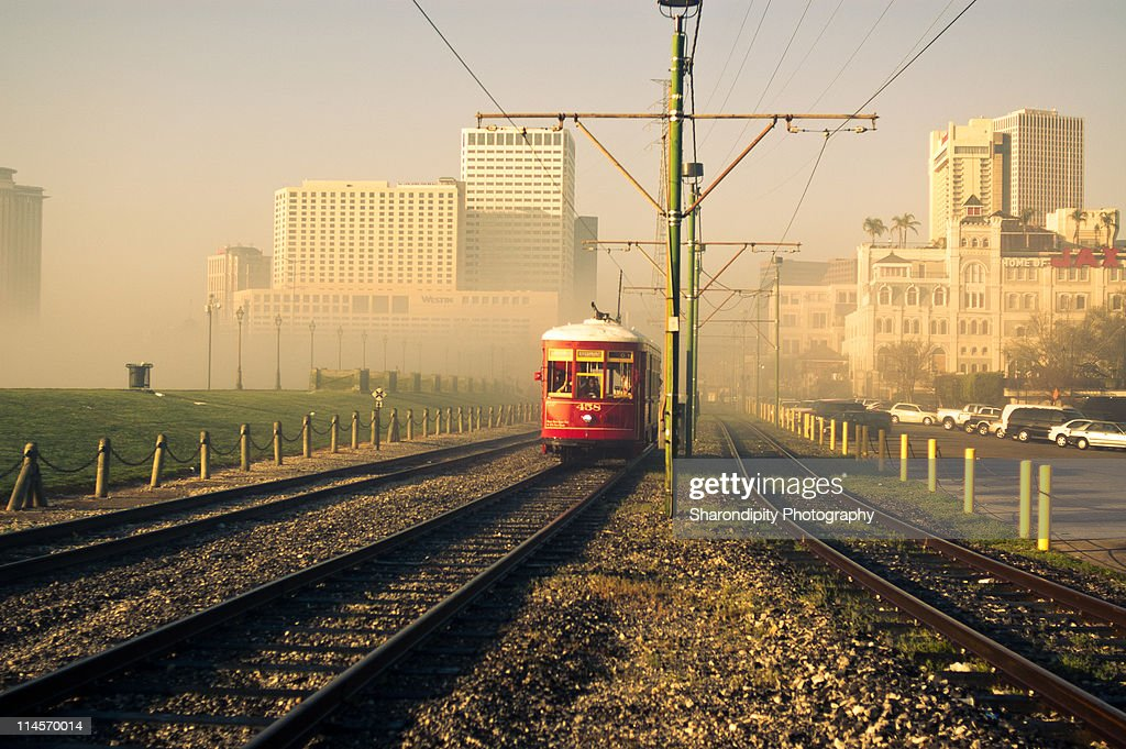 Trolley on foggy morning : Stock Photo